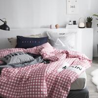 简约条纹格子四件套北欧风纯色胶印床上用品被套1.8m床单