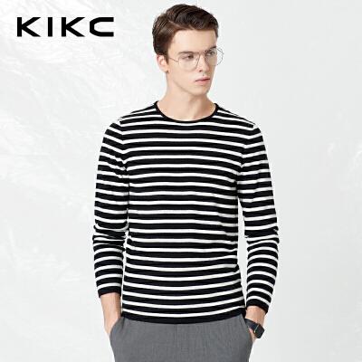 【商场同款】kikc针织衫男2018春季新款青年黑白条纹长袖上衣男士