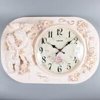 欧式挂钟客厅大号静音钟表浮雕立体长方形挂钟石英钟新房装饰 16英寸