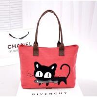 卡通可爱女士帆布包韩版小猫吃鱼潮女单肩包手提购物包包 红色