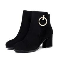 大码女鞋气质磨砂拉链圆头粗跟短靴女高跟马丁靴子秋冬短筒及踝靴