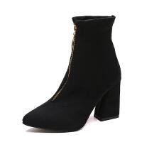 短靴女冬秋2018新款ins马丁靴女短筒粗跟高跟鞋黑色前拉链短靴女真皮