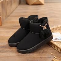 冬季平底加绒雪地靴女2018新款韩版流苏短靴学生女靴保暖女棉鞋 黑色 1708