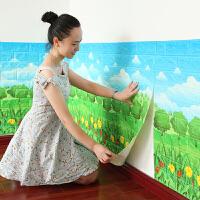 【优选】砖纹3D立体墙贴客厅墙裙木纹墙纸墙围条纹装饰幼儿园教室自粘壁纸 大