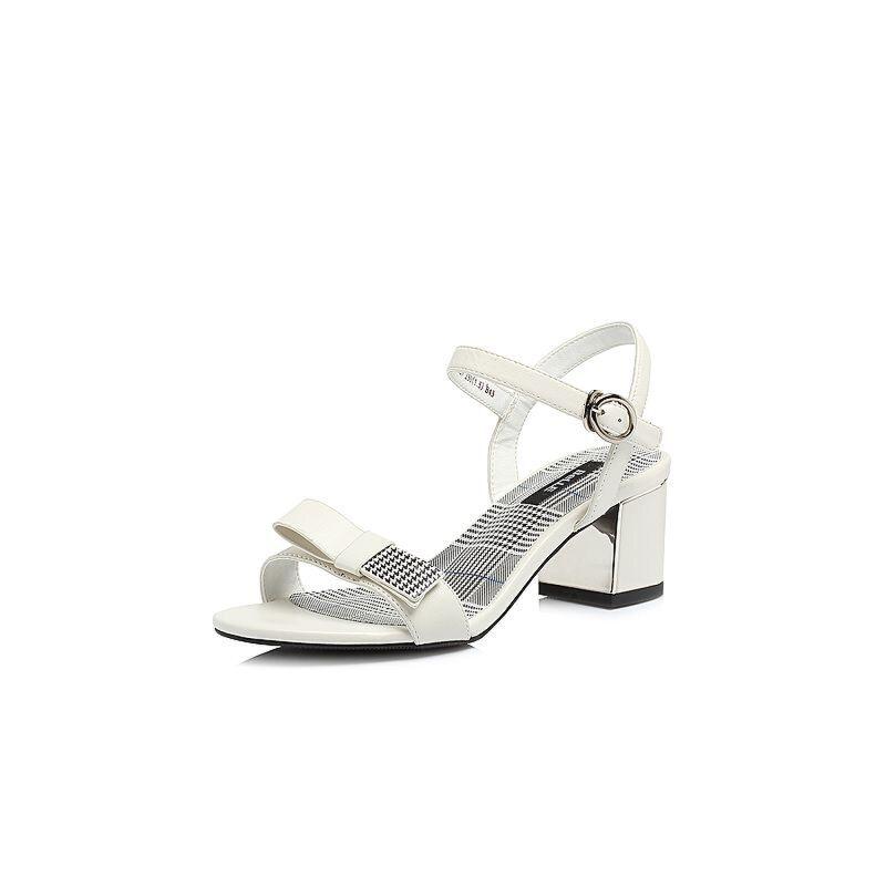 Belle/百丽2018夏新专柜同款羊皮革/纺织品女凉鞋BLAC9BL8