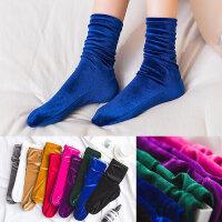 韩国复古金丝绒堆堆袜钻绒中筒袜秋冬潮流时装袜防滑脱保暖靴袜女