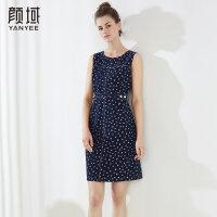 颜域品牌女装2018夏季装新款时尚简约X型无袖圆领修身显瘦连衣裙