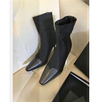 2018新款欧美靴子女短靴拼接复古方头弹力袜子靴中筒吸烟靴高跟鞋SN7562