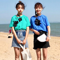 2018韩版新款夏季小清新立体花朵系带领口短袖T恤女宽松休闲上衣