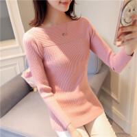 加厚毛衣套头女装秋冬季新款一字领纯色打底衫修身长袖短款针织衫
