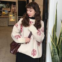 毛衣加厚女冬季韩版宽松百搭圣诞雪花蝙蝠袖套头针织衫学生外套潮