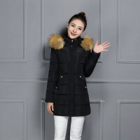 棉衣女中长款冬季韩版棉袄女大毛领修身显瘦羽绒外套