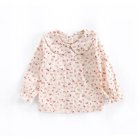 女童米色碎花翻领打底衫长袖宝宝纯棉上衣纯棉衬衫童装春季新款