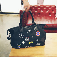 韩版米奇徽章短途旅行包女大容量休闲手提大包单肩包行李袋健身包