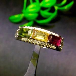 天然多宝戒指,天然透辉石,碧玺,镁铝石榴石