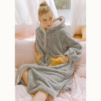 星星睡袍女冬法兰绒加长款加厚保暖睡裙宽松可爱珊瑚绒秋冬睡衣