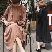 大码女装春秋装新款胖MM宽松气质200斤甜美长款木耳边雪纺连衣裙