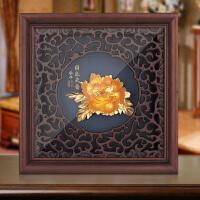 富贵花牡丹金箔实木框画装饰摆件送客户领导个性商务生日办公礼品