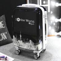 行李箱男拉杆箱女韩版箱子20万向轮学生拉箱24寸皮箱密码箱旅行箱 世界黑 A