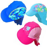 户外太君护颈帽 宝宝幼儿沙滩防晒帽  儿童防晒泳帽  女童遮阳泳帽