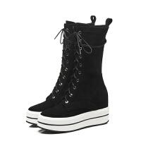 新款厚底系带马丁靴英伦风短靴女冬秋袜子靴弹力中筒机车靴潮 黑色 光牛皮单里