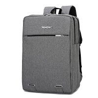 电脑包双肩男士商务大容量联想15.6寸14寸戴尔华硕女笔记本双肩包 拉链款灰色 +钥匙包