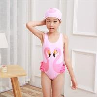 滴水之恋儿童泳衣天鹅火烈鸟鹦鹉印花泳装女童连体泳衣送泳帽