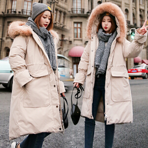 Freefeel 2018冬季新款羽绒棉服女中长款韩版休闲加厚保暖显瘦大毛领棉衣BSSY1826