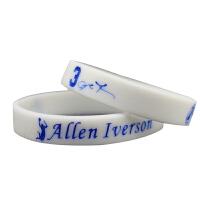 运动配饰球星艾佛森手腕带白色夜光运动手环艾弗森白色荧光手带纪念品篮球球迷用品周边礼物
