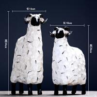 北欧美式复古绵羊摆件创意酒吧儿童房橱柜装饰品摆设工艺品礼物 绵羊摆件一对