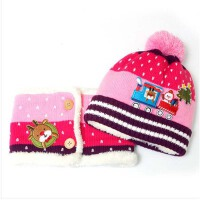 冬季毛线帽 男童女童宝宝帽子 冬天婴儿帽子 儿童帽子围巾两件套