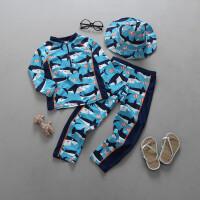 儿童泳衣男童泳衣套装分体长袖长裤保暖韩宝宝鲨鱼防晒冲浪服 HX-17109+渔夫帽