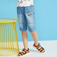 【1件2.5折到手价:37.3】moomoo童装男童牛仔短裤新款夏季韩版纯棉卡通中大童五分裤子