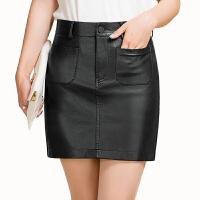 2017秋冬新款包裙小皮裙半身裙女显瘦高腰包臀裙皮短裙子一步裙