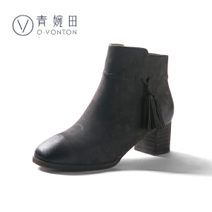 青婉田2018新款中高跟粗跟女靴子复古真皮短靴女流苏女靴春单靴