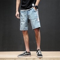 破洞牛仔短裤男宽松夏天男士五分裤潮流青少年休闲短裤薄款哈伦裤