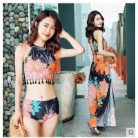 分体泳衣女小香风保守显瘦温泉游泳衣三件套比基尼性感罩衫裙式