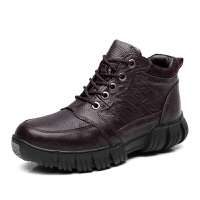棉鞋男士冬季休闲鞋加绒保暖高帮加厚真皮鞋东北户外雪地靴棉靴男 34-44