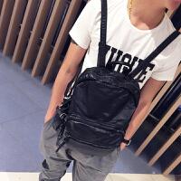 男士双肩包韩版潮流时尚休闲书包背包软面旅行包小潮包 黑色