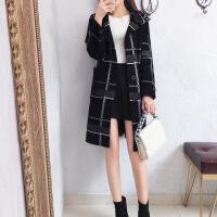 韩版冬季毛呢外套女2018新款秋冬流行仿羊绒呢子大衣格子冬天双面呢