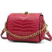 春季新款欧美时尚女包鳄鱼纹女士手提包单肩斜挎包包 红色