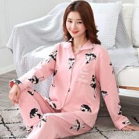 秋季长袖睡衣女士家居服秋全棉厚款开衫韩版可外穿月子服套装