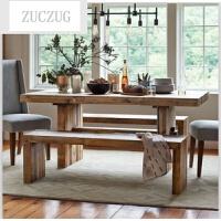 ZUCZUG美式乡村实木长方形餐桌美式餐台饭桌长桌家具定制复古做旧餐桌椅
