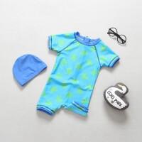 宝宝泳衣男童泳衣防晒连体套装婴儿保暖抗UV儿童冲浪服潮 蓝色乌龟+帽子