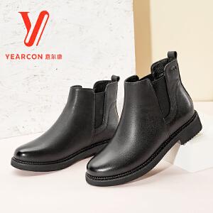 意尔康女鞋真皮英伦风切尔西短靴女2017冬鞋新款皮靴加绒靴子女