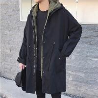 中长款风衣男生加肥加大码春季装韩版潮流薄款工装外套青年学生