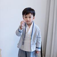 男童汉服小孩唐装儿童中国风童装古装春装国学服装书童演出服套装 浅灰色 外套