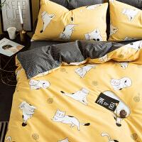单人被子枕头床单一套卡通全棉纯棉床上用品四件套宿舍床单人三件套少女心男孩儿童被套