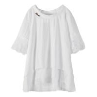 雪纺衫短袖上衣2018新款小衫春夏季韩版大码百搭镂空蕾丝打底衫女