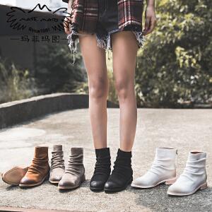 玛菲玛图真皮短靴女秋季款褶皱磨砂皮圆头单靴低跟平底后拉链马丁靴6101-5